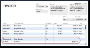 Customize Your Transactions In QuickBooks - Quickbooks invoice subtotal
